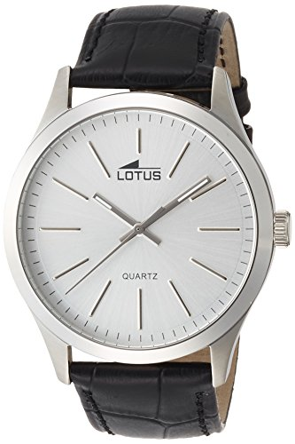 Lotus Men's Quartz Watch with Silver Dial Analogue Display and Black Leather Strap 15961/1