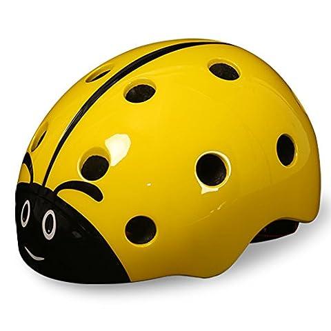 SHTH Kinder Fahrradhelm,Unisex Kinder Helm für Radfahren Skateboard und Eislaufen (Gelb)
