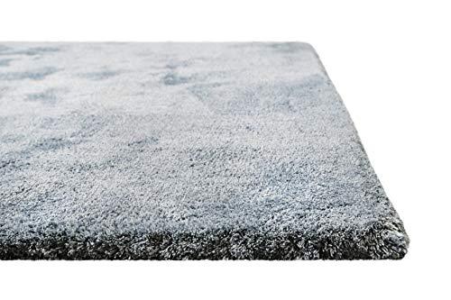 Homie Living I Moderner Kuscheliger, weicher, Flauschiger Teppich - Läufer für Wohnzimmer, Flur, Schlafzimmer, Kinderzimmer I Sienna I (120 x 170 cm, Blau Grau)