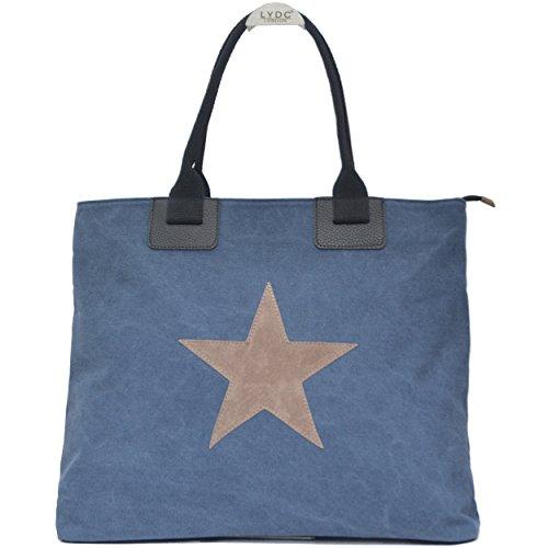 Vani Segreti Grande Shopper Donna In Tela Con Stella Blu Reale