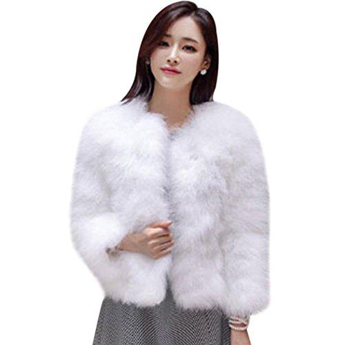 MIOIM Pelzmantel Damen Kunstpelz Straußenfedern Weichen Pelzjacke Winter Jacke Flauschigen Faux Pelz Kurz Luxus Mantel Outwear Weiß S (Jacke Damen Pelz)