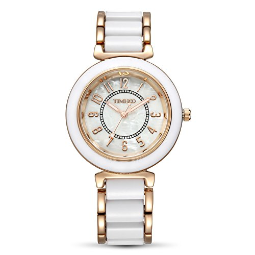 Time100 Damen-Armbanduhr Diamant Runde Fritillaria Acryl-Armband Analog Quarz