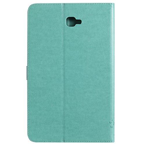 Custodia Galaxy Tab A 10.1, Galaxy Tab A 10.1 Flip Case Leather, SainCat Custodia in Pelle Cover per Samsung Galaxy Tab A 10.1 T580/T585, Anti-Scratch Book Style Protettiva Caso PU Leather Flip Portaf Verde