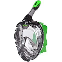 Seac Magica Masque Snorkeling Plein Visage Intégral 180°, Antibuée avec Jupe Souple en 2 Tailles, Purge de Vidage et Tuba avec Sistème Étanche au Top Adulte Unisexe, Gris/Vert Citron, L- L-XL