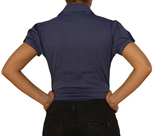 7011, Mesdames Chemisier, blouse du corps, chemisiers corps, manches courtes, unicolores, rayé, S, M, L, XL, rose, bleu, blanc. bleu foncé