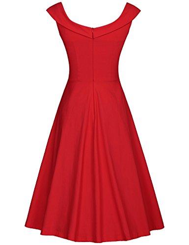 MUXXN Rétro robe balancée de soirée cocktail imprimé de femme des années 1950 au col de bateau red