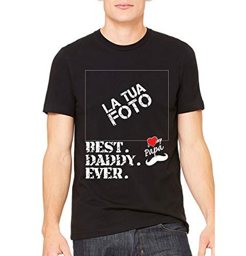 T-Shirt Best Daddy Ever Regalo per papà Personalizzata Online con Stampante Diretta per Tessuti (nelle Immagini Scheda Misura)