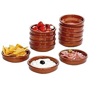 MamboCat 12er-Set | Tonschalen Cazuela | 175 ml | Ø 12 cm | braun | glasiert | antike Servierschalen | Ton-Geschirr für Gastronomie & mediterrane Küche