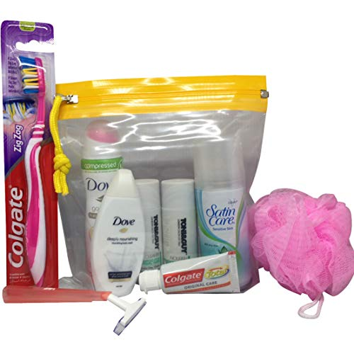 Womens Travel Size Toiletries Set in Snopake Airbag ready for hand luggage on a flight