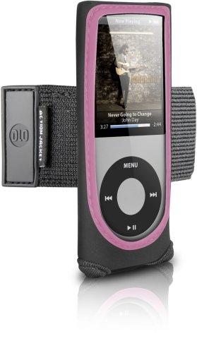 DLO 71023/10 Neopren-Tasche für iPod Nano 4G (Armband, Sichtfenster und 180° drehbaren Gürtel-Clip) schwarz/pink Ipod Nano 4g Armband