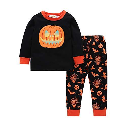 EisEyen Halloween Kostüm Set Langarmshirt Familie Passenden Halloween Kürbis Kürpiskopf Pumkin Head Print Pyjamas ()