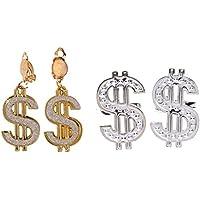 Gazechimp Ensemble 2pcs Grand Anneaux Singe Dollar + Paire Boucles D'oreills à Clip Hip-hop Style Accessoire Déguisement
