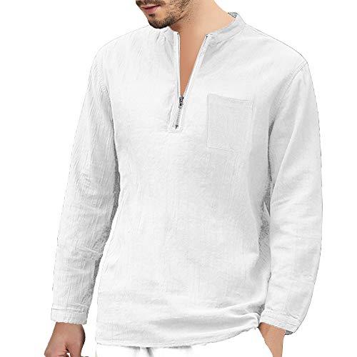 Herren Baggy Baumwolle Leinen Langarm ReißVerschluss Retro V-Ausschnitt T-Shirts Tops Bluse LangäRmeliges Baumwollhemd Mit Durchgehendem Casual Oberteile(Weiß,XXL)