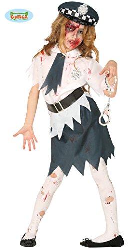 Guirca-87705 Kostüm Zombie Polizei für Mädchen, 10/12 Jahre, Weiß und Blau, 87705 (Kostüm Polizei Zombie)
