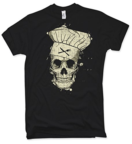 Cook Skull T-Shirt Totenkopf Koch Griller Vintage Verschiedene Farben Gr. S – 5XL (Distressed Vintage-t-shirt)