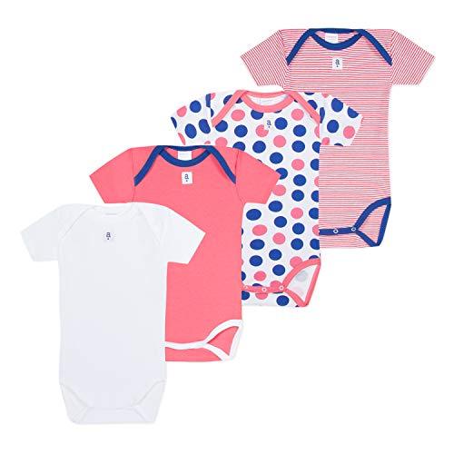 Absorba 6N60336-RA96BODY, Body Bébé Fille, Rose (Pink 96)), 3-6 mois (Taille fabricant:6M) lot de 4