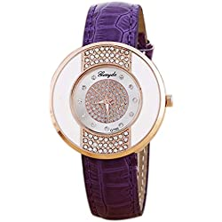 Rhinestone Wrist Watch - Gerryda Fashion Women Watch Leather Band Sport Analog Quartz Wrist Watch, Purple