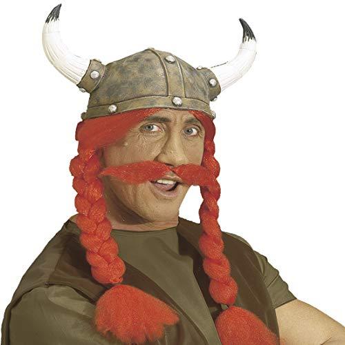 NET TOYS Gehörnter Wikinger-Helm mit rotem Bart und Zöpfen | Origineller Herren-Hörnerhelm Gallier | Bestens geeignet für Fasching & Karneval (Helm Gehörnter)