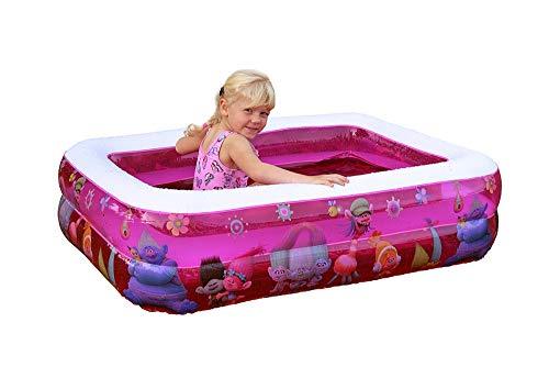 Vida GmbH Kinderplanschbecken Kinderpool Baby Badewanne eckig aufblasbarem Boden Balkon Bällebad rosa Trolls Reisebett