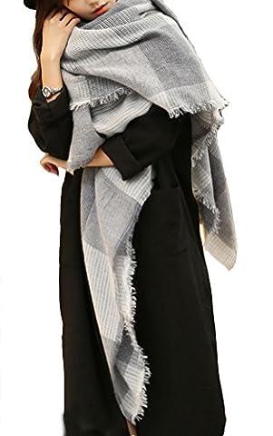 SMITHROAD Damen Weicher Schal Poncho Tücher Umschlagtücher Kariert Muster 180cm x 130cm Herbst Winter Elegant