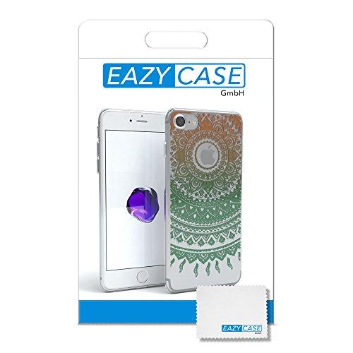 """iPhone 8 Hülle / iPhone 7 Hülle - EAZY CASE Slimcover """"Henna"""" Handyhülle für Apple iPhone 7 & iPhone 8 - Flexible Schutzhülle mit Indischer Sonne Optik in Weiß / Transparent Gold / Grün"""