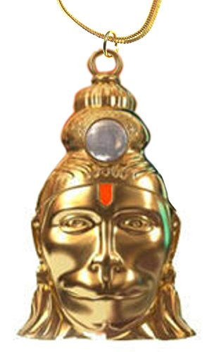 Evana Hanuman Chalisa Yantra Locket With Chalisa Printed on Optical Lens with Gold Plated Chain