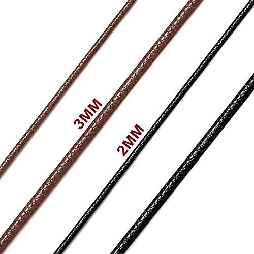 Richsteel Edelstahl lederkette Herren ohne anhänger 2mm breit 71cm lang lederkette mit Verschluss für Herren und männer