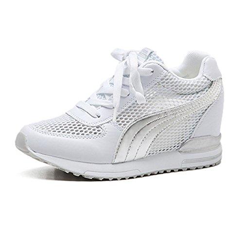Chaussure de sport femme dentelle basket sneakers loisir respirant compensé Blanc