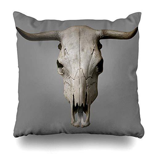 saletopk 4 Stück Dekokissen Abdeckung grau Bull Kuh Schädel auf Knochen Kopf Rinder alte Natur mit Reißverschluss Kissenbezug quadratische Größe 20 x 20 Zoll Home Decor Kissenbezug -
