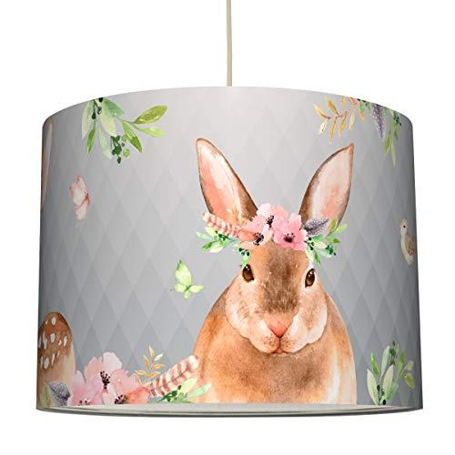 anna wand Hängelampe FRIENDLY FOREST/GRAU - Lampenschirm für Kinder/Baby Lampe mit liebevollen Waldtieren - Sanftes Kinderzimmer Licht Mädchen & Junge - ø 40 x 34 cm (Kinder Wand Lampe)