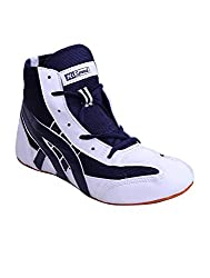 Hi Speed Men White, Blue Mesh/Synthetic Leather Wrestling Shoes (DR-wrsmat2, Size: 42 EURO)