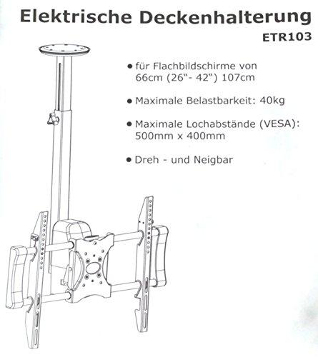 Tronje ETR103 Motor Deckenhalterung TV elektrische Deckenhalterung für Fernseher LED TV Plasma Monitore von 26″ bis 42″ oder größer Digital Signage mit Fernbedienung - 3