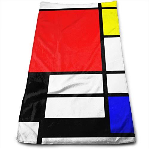Neoqwez Hand Towels Mondrian Style Super Absorbent Hair Basic Absorbent Towels for Bathroom and Kitchen