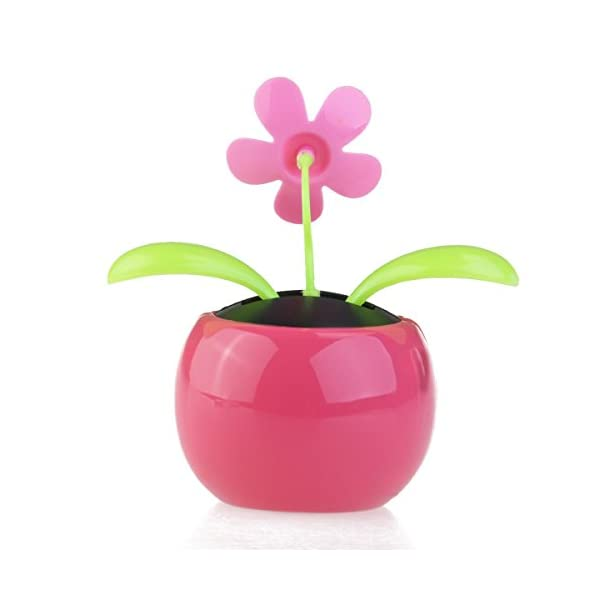FENICAL Dacing Solar Flower Car Decor Solar Powered Happy Dancing Flower in the Pot Office Desk Display (Pink) 2