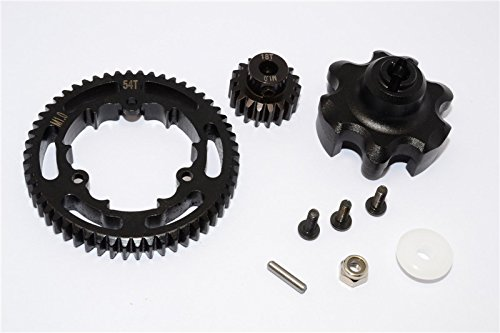 Traxxas X-Maxx 4X4 Upgrade Pièces Aluminium Gear Adapter + Steel Spur Gear 54T + Motor Gear 18T (For X-Maxx 6S Only) - 1 Set Black
