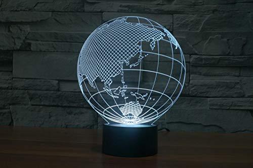 CFLEGEND3D Nachtlicht Globus (Touch + Fernbedienung) LED Tischlampe Flutlicht weiches Licht Statue Kinderzimmer Schlaf Licht dekorative Lichter Party Lichter 7 Farbe USB