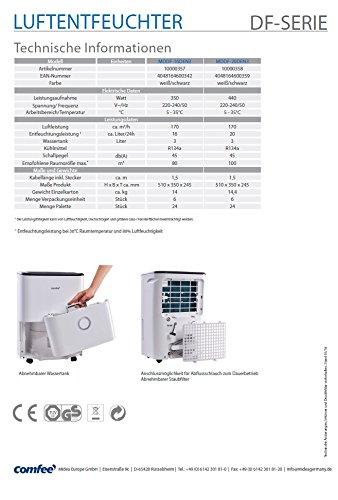 Comfee MDDF-20DEN3 Luftentfeuchter, Bautrockner, 20L in 24h, Raumgröße ca. 100m³ - 2