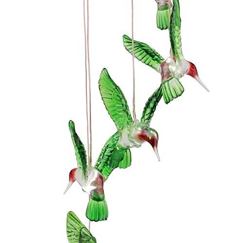 HomeYoo LED Solar Wind Glockenspiel, 7 LED wechselnde Lichtfarbe wasserdicht Weihnachten Windspiele, Xmas Deer Light String Nacht Garten Lichte Für Haus/Partynacht Garten Dekoration (Six Hummingbird)