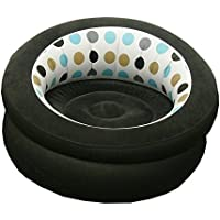 Inflatable Chair Sofa Blow Up Seat Gaming Lounger Indoor Outdoor Camping Garden Stylish Polka Dot Design Soft Plush Fabric Single