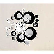 vinilo retro de pared reloj y circulos espejo negro decoracion salon dormitorio
