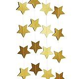 SUNBEAUTY 4 Meter Sternketten Banner Stern Papier Girlande Party Feier Dekoration (Gold)