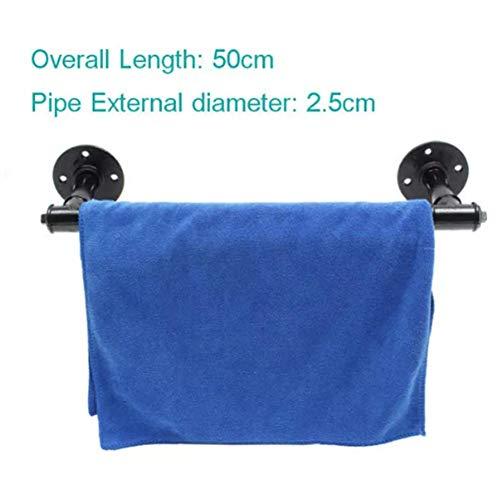 DyNamic Industrial Steampunk Bad Towel Bar Rail Holder Black Iron Pipe Wall Mount Shelf Rack 4 Sizes - #4 - Black Iron Pipe