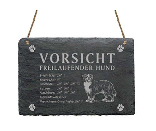 Schiefertafel « BERNER SENNENHUND - VORSICHT FREILAUFENDER HUND » Schild mit Hunde Motiv - Türschild Dekoration Garten Terrasse Haustür Tor Tür