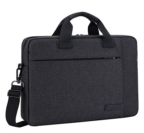 BAAFG Laptop Umhängetasche Aktentasche Sleeve Handtasche Für 14 15 4 13 3 15 6 Zoll Notebook-Computer Mit Rückengurt Für Trolly Case,Black-14inch -
