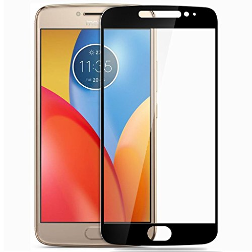 Plus Pro Hd+ Crystal Clear Full Screen Coverage Tempered Glass Screen Protector For Motorola Moto E4 Plus - Black