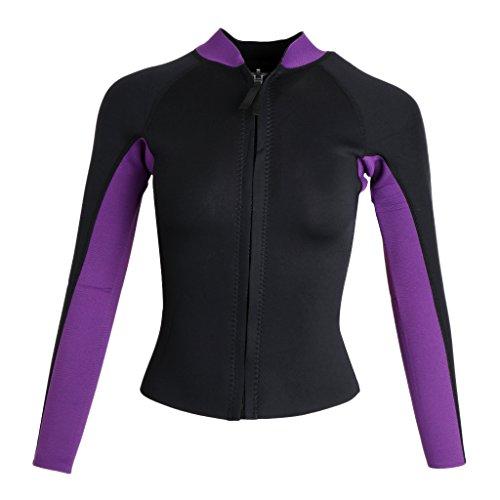 Baoblaze Frauen 3mm Neopren Jacke Wetsuit Top Neoprenanzug Schwimmanzug Tauchanzug Stehkragen Langarm Badeanzug Reißverschluss - M