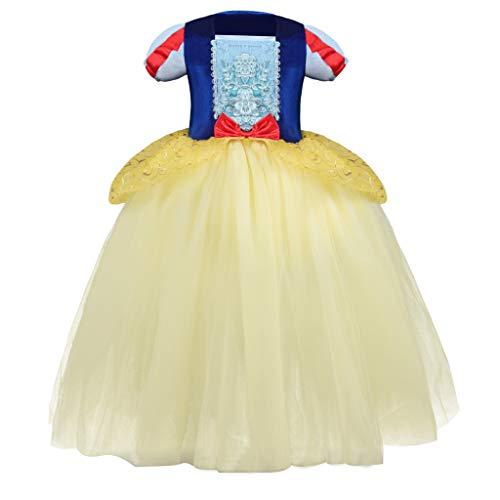 EVAEVA Mädchen Schneewittchen Kleid Prinzessin Cosplay Kostüm Kinder Dress Up Grimms Märchen Kostüme Kleider mit Umhang Partykleid Faschingskostüm für Karneval Halloween Geburtstag (Schneewittchen Kostüm Muster Für Erwachsene)