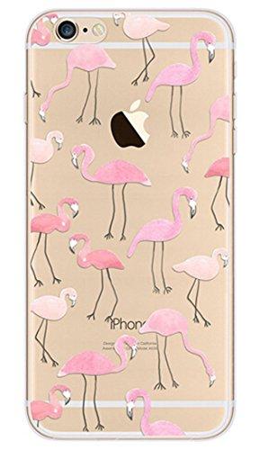 iPhone SE Silicone Coque,iPhone SE Coque Transparente,iPhone SE Coque Antichoc,iPhone SE Coque Bumper,iPhone 5S Silicone Coque Ange Housse Transparent Etui Gel Slim Case Soft Gel Cover pour iPhone 5,E Flamingo 1