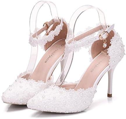 Zapatos de mujer Nupcial Encaje Floral Perla Mary Jane Court Stiletto Talón Bombas Talla 36 a 40 , white , EU38