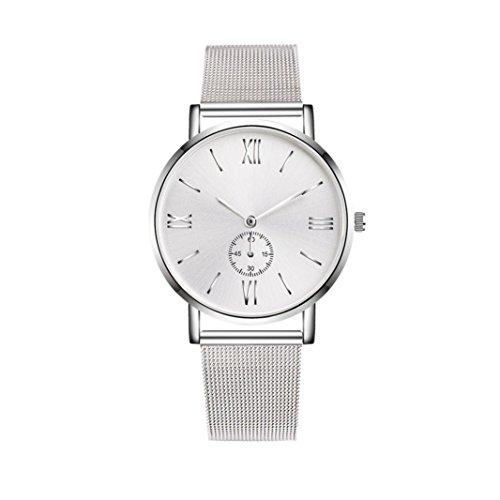 Damen Uhren,Beikoard Damen Herren Luxury Edelstahl Uhren Kristall analog Quarz Armband Armbanduhren (Silber)